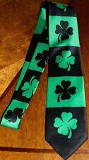 New Happy St Patrick's Day Mens Irish Lucky Green Shamrock Black Neck Tie! #1