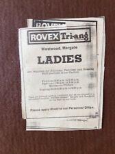 L1h ephemera 1970 ROVEX Tri-ang Margate Job Ad