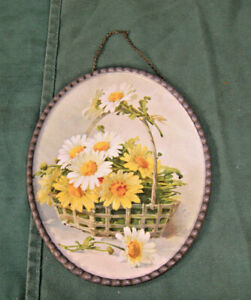 Antique 1900 Flue Cover Victorian Flowers Lithograph CHAIN FRAME