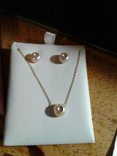 NEW 14K Yellow Gold Galatea Diamond Pearl Earring Necklace Set