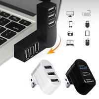 Transfer Mini Rotatable 3 Ports USB 3.0 Hub Adapter Splitter Box For PC Laptop