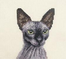 Black SPHYNX CAT, KITTEN ~ Full counted cross stitch kit + All materials