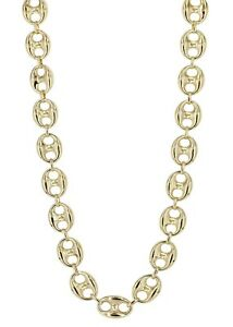 """Sterling Silver 925 Yellow Gold Plated Gucci Link Necklace 4.5mm 24"""""""