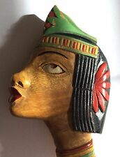Large vintage 1930s carved & painted wood Egyptian Revival brooch, signed