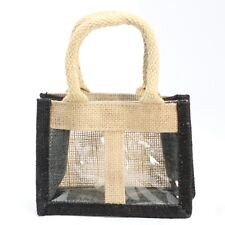 5 x Two Window Jar Jute Gift Bag  Black natural  Bags With Handles 15 X 7 X 11cm