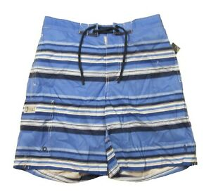 "Polo Ralph Lauren Men's Blue Striped Graphic Print 8.5"" Swim Trunks"
