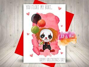 Funny Horror Movie Inspired Valentines Day Card   IT Clown   Alternative