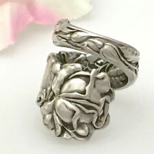 Sterling Spoon Flower Ring BRIDAL ROSE Silver,Custom Sz 6-11 Silverware Jewelry