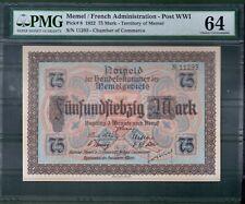 Memel (Post WW1) P-8 75 Mark 1922 PMG 64 Rare