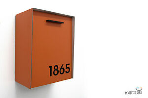 Modern Mailbox Orange Aluminum Face and Body with Black Acrylic Numbers - Type 2