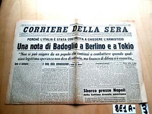 SECONDA GUERRA CORRIERE DELLA SERA 10 SETTEMBRE 1943  (8E1A-3)