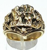 Egyptian Revival massiver 835 Silber Ring Meisterpunze BC - vergoldet RG 57/A287