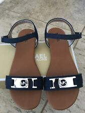 Michael Kors Girls Sandals Viviiana Size 2 Denim Blue With Silver MK Logo Size 2