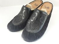 SOFFT Women Sz 8 M Clogs Mules Shoes Black Leather Suede Slip On Heel Shoes