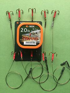 5 X PIKE TRACES 20LB 7 STRAND DRENNAN ESOX WIRE SIZE 6 TREBLE HOOKS