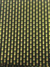 Yellow Pineapples on Black Riley Blake Fabric FQ + More 100% Cotton