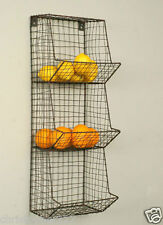 Wire Basket Wall Bin Rack Fruit Vegetable Storage Organizer Country Vintage New