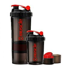 Protein Powder Shaker Water Bottle Fitness Sports Gym Plastic Mixer Cup BPA-Free