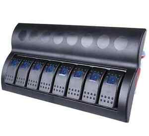 Water proof 8 Gang Blue LED Black Rocker Switch Panel For Marine /Boat/ Caravan