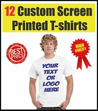 12 CUSTOM SCREEN PRINTED T SHIRTS ONE SIDE ONE COLOR PRINT 100% COTTON T-SHIRTS