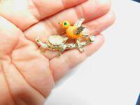 Signed Gerry's Orange Enamel Bird Faux Pearl Birds Next Branch Brooch Vintage