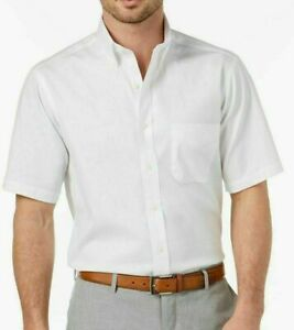 Club Room Mens Casual Shirt Classic Bright White Size 16 Button Down $52- 070