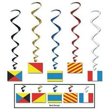 5 Sailing Nautical Hanging Twirling NAutical Flags decorations 40 inches
