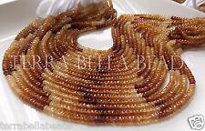 """Full 12.5"""" strand shaded HESSONITE GARNET faceted gem stone rondelle beads 4mm"""