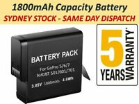 GoPro HERO8 9 7 6 5 Battery Go Pro High Capacity Replacement Batteries +Warranty