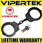 VIPERTEK Professional Double Lock Black Steel Police Handcuffs w/ Keys
