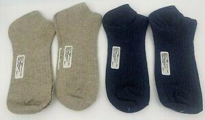 4 pr Women's No Show Cotton/Bamboo Socks - Low Cut - Navy, Oatmeal  9-11