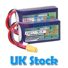 2 x Turnigy nano-tech LiPo batteries 3s 11.1V 25C - 1300mAh - XT60 connectors