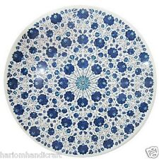 "18"" White Marble Coffee Table Top Lapis Mosaic Inlay Marquetry Patio Decor H1744"