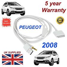 Peugeot 2008 3gs 4 4s Iphone Ipod Usb Y Aux 3.5 mm conectividad Cable Blanco