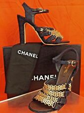 16P NIB CHANEL NAVY TWEED GOLD STRAPPY CHAIN CC PEARL LOGO SANDALS PUMPS 41.5