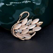 Luxury Pink Rhinestone Swan Brooch Pin, Fashion Jewelry Chic Elegant Bijoux