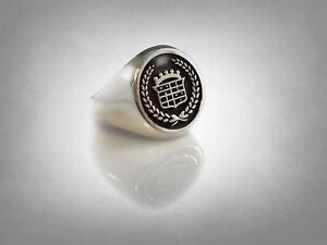 Cadillac Car Logo Design Presidential Sterling Silver 925 Ring