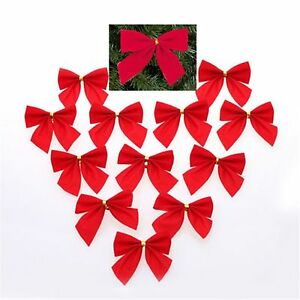 Christmas Party Decoration Gift Bows - Red Velvet with Gold Tinsel Tie - 6pk