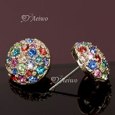 18K ROSE GOLD MULTI COLOUR MADE WITH SWAROVSKI CRYSTAL HALF BALL STUD EARRINGS