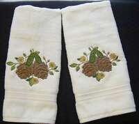 PINECONES EMBROIDERED SET 2 BATHROOM HAND TOWELS By Laura