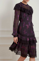NEEDLE & THREAD Interstellar Frill Metallic Embroidered Butterfly Dress Size 12