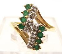 Vtg 14K Gold Natural Emerald Diamond Ring Sz 5.5 Estate .08 Carat TCW Cluster