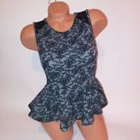 Topshop Womens Blouse Size 2 Peplum Tank Top Black Gray Floral Sleeveless