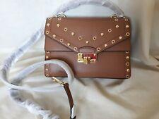 Michael Kors Kinsley Medium Leather Satchel With Studs studded brown crossbody