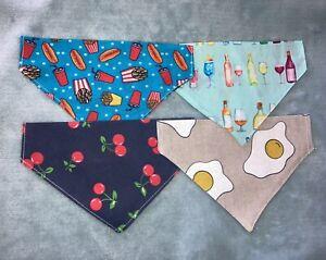 "pet, cat, puppy bandanas, accessories 7"" Fast Food, Cherries, Fried Egg, Wine"