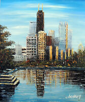 Chicago Downtown Lake Michigan Shore West Condos STRETCHED 20X24 Oil Painting