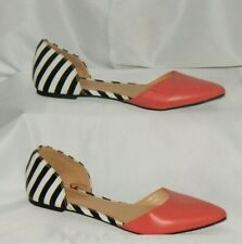 Express D'Orsay Shoes Blk & White Stripe, Coral Women's Size 7 Stunning Style