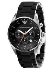 Emporio AR5858 Black Sportivo Dial Silicon Strap Quartz Men Watch USA Seller NWT