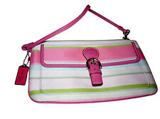 COACH RAINBOW PINK WALLET COIN LEATHER CLUTCH WRISTLET BAG BUCKLE MULTI-COLOR