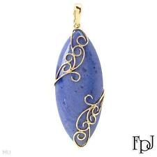 FPJ 70.35ctw Denim Blue Sodalite SLIDE Pearl Enhancer Pendant Solid 14K YG